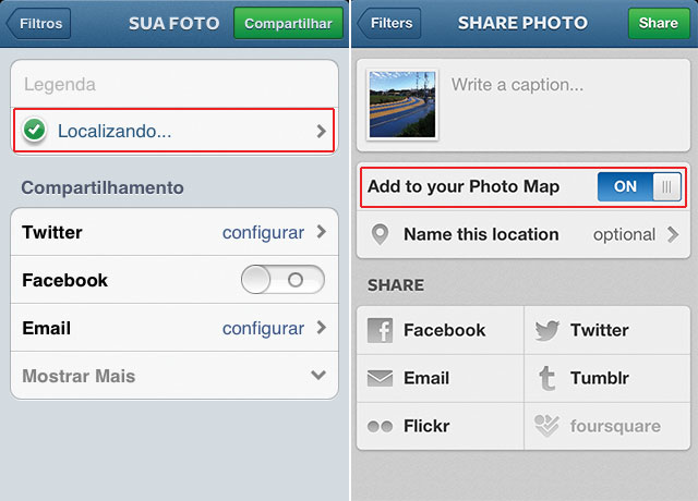 Be careful with instagram photo maps rodrigo sieiro previous version on the left green checkmark with no label and new version on the right explicit add to map caption ccuart Choice Image